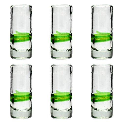 Tumia LAC Vaso de Chupito/Tequila Artesanal – Vidrio Reciclado – Verde Mezclado – Juego de 6