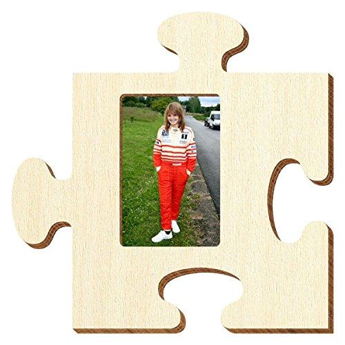 Bütic Sperrholz Foto Puzzle Bilderrahmen naturbelassen, Größe:Foto hoch 9x13cm