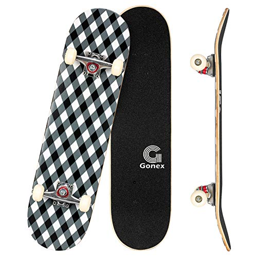 Gonex Complete Skateboard for Teens Adults Beginner, 31 X 8 Inch Standard Skateboard for Boys Girls Kids with 9 Layer Maple Deck Double Kick Deck Concave, Diamond