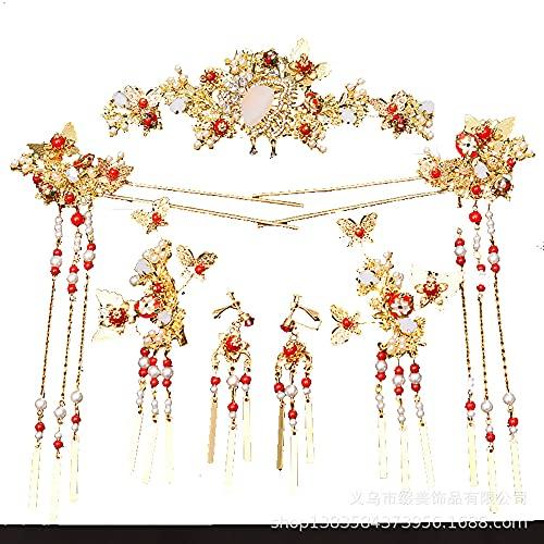 AMY-XCQ Horquilla, Tiara De Boda Nupcial, Accesorios para El Cabello De Princesa China, Disfraz De Mariposa, Corona De Pelo, Joyera De Borla