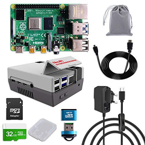 MakerFun Raspberry Pi 4 8 GB RAM Starter Kit mit 32 GB Micro SD Karte, Nes4Pi Gehäuse, 5 V 3 A USB-C Netzteil, Kühlkörpern, Kühlgebläse, Micro HDMI Kabel und SD Kartenleser