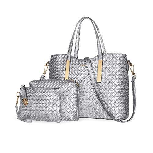 Tibes Art und Weise PU Leder Handtasche + Schultertasche + Geldbeutel 3pcs Beutel Silber