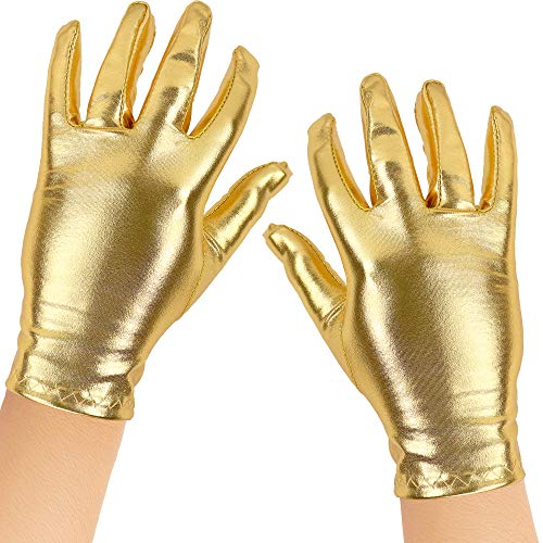 Skeleteen Metallic Gold Costume Gloves - Shiny Gold Princess Evening Stretch Dress Glove Set for Men, Women and Kids