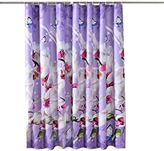Sfoothome Purple Background and Butterfly Flowers Printed Pattern, Waterproof Polyester Fabric Shower Curtain for Bathroom (72 Inch by 72 Inch)