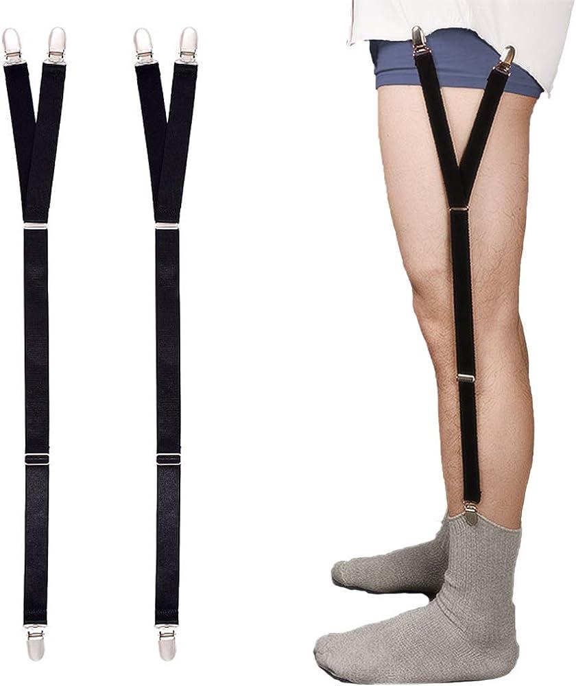 2pcs Mens Uniform Stays Holders Elastic Shirt Garter Non-Slip Locking Clamps