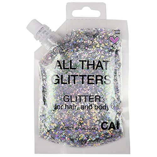 CAI BEAUTY NYC Silver Glitter   Easy to Apply, Easy to Remove Chunky Glitter for Body, Face and Hair   Bag Pouch   Holographic Cosmetic Grade Glamour