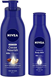 NIVEA Body Lotion for Very Dry Skin, Cocoa Nourish 400 ml and NIVEA Body Lotion, Nourishing Body Milk, 120 ml (Free)