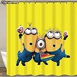 pobpop Yellow Shower Curtains Mischievous Minions Series Shower Curtains Eyelash Eye Lash Bath Curtain Shower Polyester Waterproof Bathroom Curtain Or Mat (A)