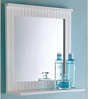 Maine White Bathroom Wood Frame Mirror Wall Mounted with Cosmetics Shelf NEW pajee TM