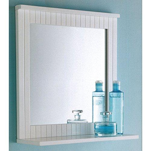 Maine White Bathroom Wood Frame Mirror Wall Mounted with Cosmetics Shelf NEW pajee TM