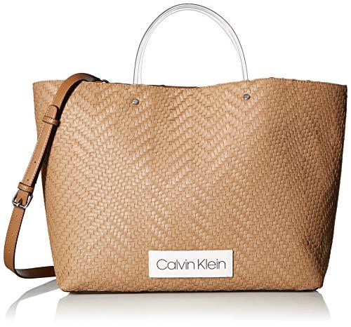 Calvin Klein Damen Morgan Woven Novelty Large Tote Stofftasche, zimt, Einheitsgröße