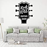 zhuziji Kpop Stickers Muraux Amovible Rock Musique Guitare Style Nordique Auto-Adhésif Art Autocollant Étanche Maison Chambre Décoration Vinyle Pvc71X57Cm