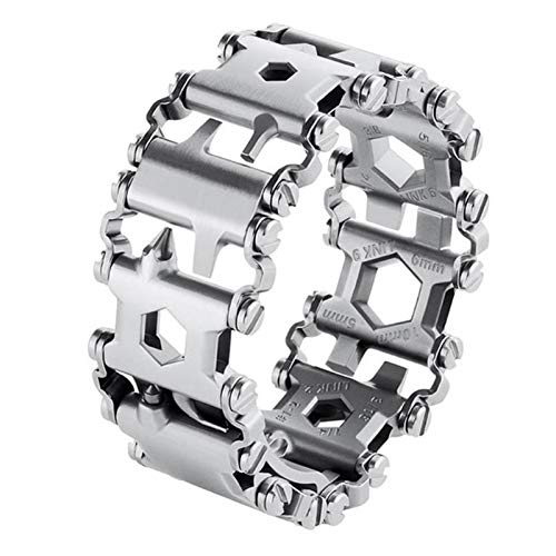 Portable Outdoor Tool 29 in 1 Multi Tool Bracelet Tread Bracelet Multifunction Tool Outdoor Bolt Driver Kits Travel Wearable Bike Multitool for Outdoor Travel Camping (Color : Silver Bracelet)