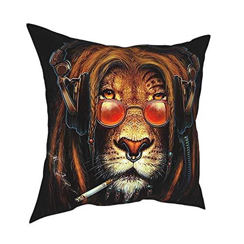 Fundas de almohada decorativas de león para gafas de sol, 45,7 x 45,7 cm, funda de cojín cuadrada para decoración del hogar del sofá del coche