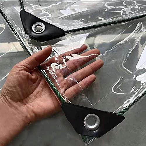 SJQ Cubierta de Lona Transparente de PVC, Lonas Transparentes Resistentes a la Lluvia a Prueba de Agua Rip-Stop con Ojales, para toldo Transparente para jardín, toldo, balcón, Tienda, Barco, (0,