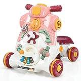 COSTWAY Andador para Bebé con Música y Luces para Bebé de 6-36 Meses Caminador con Tablero de Juguete 46 x 46 x 46 centímetros (Rosa oscuro)