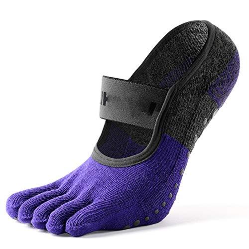 Calcetines Calcetines de danza de cinco dedos de algodón puro, calcetines de yoga para mujeres con agarre, calcetines separados de cinco dedos deslizados, calcetines de piso interior, calcetines de ba