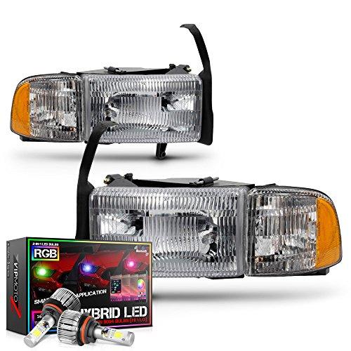 VIPMOTOZ Chrome Bezel OE-Style Headlight & Side Marker Lamp Assembly For 1994-2001 Dodge RAM 1500 2500 3500 Pickup Truck - Built-In Rainbow RGB LED Low Beam, Driver & Passenger Side