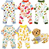 URATOT 5 Pieces Puppy Dog Pajamas Pet Jumpsuit Soft Puppy Rompers Pet Dog Cute Clothes Onesies Puppy Bodysuits for Pet Puppy Dog Cat, 5 Styles (Small)