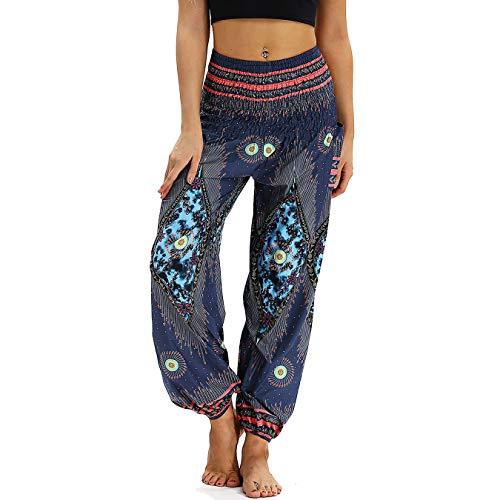 Nuofengkudu Damen Hippie Haremshose Capri Thai Hose Leichte mit Taschen Dünn Boho Ethno Blumenmuster Muster Strand Sommerhose Yogahose Blue Pfau