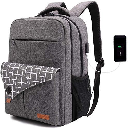 Lekesky Laptop Rucksack Business Notebook Rucksack 15,6 Zoll Laptoprucksack mit Laptopfach & Anti Diebstahl Tasche, Grau