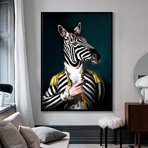Ajcwhml Schwarz-Weiß-Tier tragen Pferde Bilder leinwand Abstrakte Leinwand Wandbild Print Künstler Home Decoration Kein Rahmen-60x90cm
