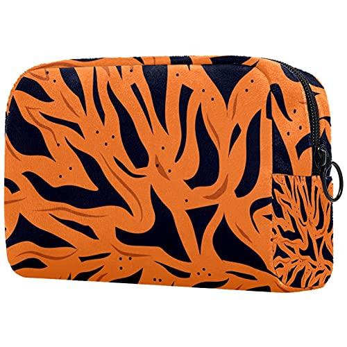 Bolsa para Cosméticos Raya de Tigre Bolsas de Maquillaje de Viaje Portátil Neceser de Maquillajepara para Mujeres niñas 18.5x7.5x13cm