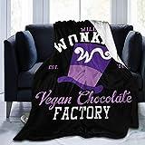 erjing Mantas Willy Wonkas Fábrica de Chocolate Vegano Fleece Franela Manta de Tiro Manta de Cama cálida Ultra Suave y Ligera Ajuste para sofá Adecuado