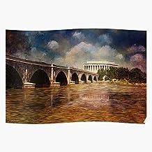 Dc Bridge Washington Abraham Virginia Arlington Lincoln Memorial Impresionantes carteles para la decoración de la habitación impresos con la última tecnología moderna sobre papel semibrillante