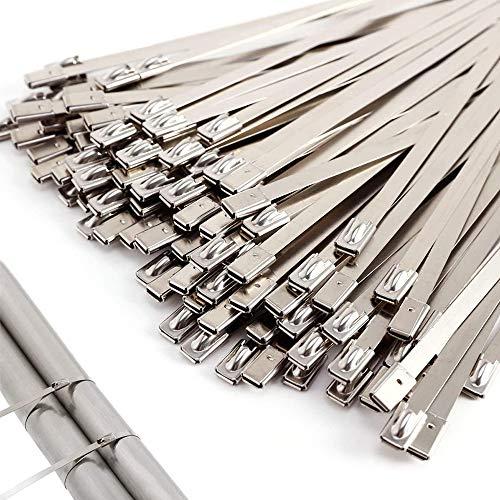 gotyou 100 Piezas Acero Inoxidable Bridas para Cables, Bridas Metalicas Cable Lazos, Cables de Acero Inoxidable, Bridas de Metal, para Jardín y Coche, para Sujetar Tubo de Escape, Verja Exterior y Más