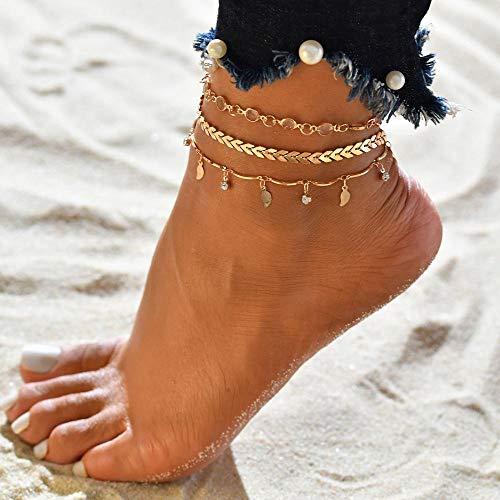 JEFEYI Bracelet de Cheville 3 pièces Ensemble Or Vintage Femmes vin Plage Cheville Paillettes Bracelet Sandales Chaussures de mariée Pieds Nus Cadeau 50181