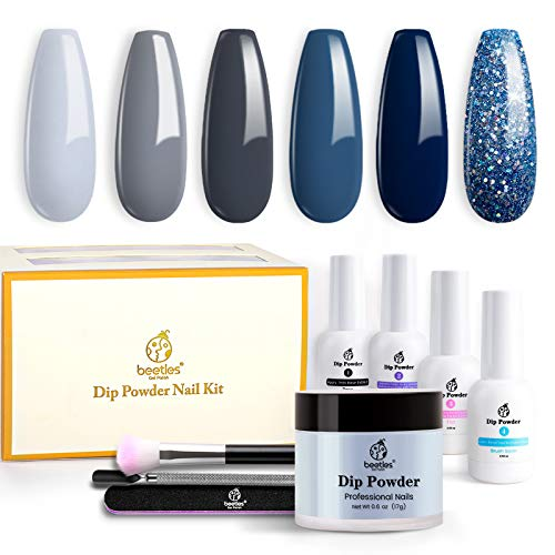 Beetles Dip Powder Nail Kit Starter 6 Colors Gray Blue Dipping Powder Glitter Nail Dip Set Dip System Nails Manicure Nail Art Set,No LED Nail Lamp Needed,0.53 fl.Oz/Each