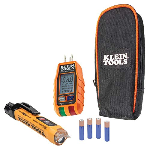Non-Contact Voltage Tester and GFCI Receptacle Tester with LCD and Flashlight, Voltage Electrical Test Kit Klein Tools RT250KIT