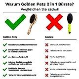 Golden Pets Bambus Hundebürste & Katzenbürste I Glätten und Entfilzen I Mittel - langhaar Fell geeignet I Hundekamm für Unterwolle I + Gratis Pflegehandbuch