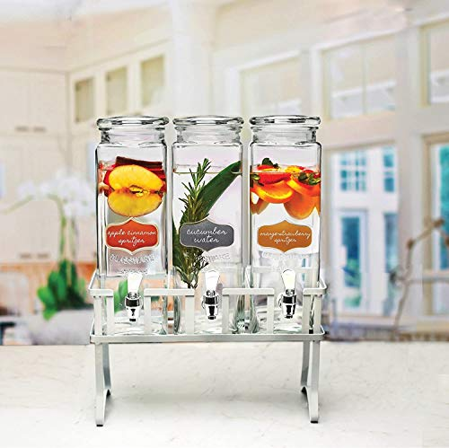 Circleware Triple Chalkboard Beverage Dispensers with Metal Stand & Spigot, Fun Party Glassware for...