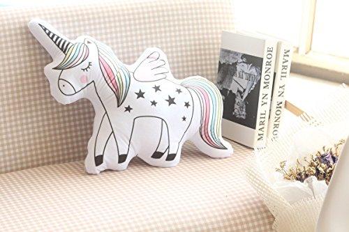 ABYED Cuscino in tessuto di puro cotone a colore di arcobaleno Unicorno Cuscino da divano Bambola per accompagnare il sonno Ornamento per la fotografia della stanza del bambino Giocattoli e regali