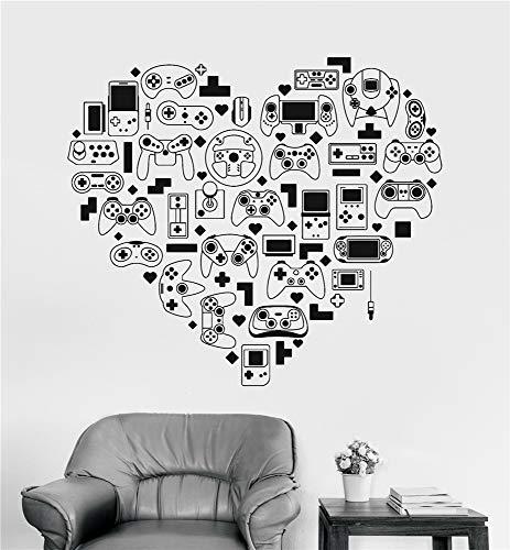 wandaufkleber 3d Wandtattoo Kinderzimmer Videospiel-Dekor-Spiel-Abziehbilder Videospiel-Konsolen-Gamer-Herz-Steuerknüppel-Aufkleber