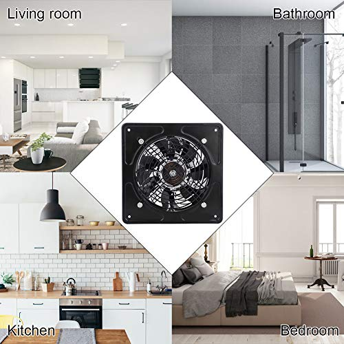 6 inch Wall Mounted Exhaust Fan Super Silent Ventilation with Copper Motor Home Bathroom Kitchen Garage Air Vent (Black)