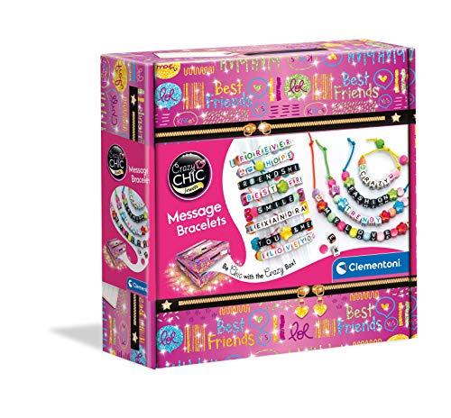Clementoni- Crazy Chic-Message Bracelets, Set per Creare, Atelier Gioielli, Braccialetti con messaggi, Gioco Creativo Bambina 7 Anni+, Multicolore, 18634