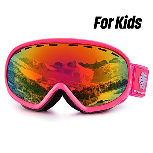 HUBO SPORTS Kids Ski Goggles, Youth Skiing Goggles, Double Spherical Lens with Anti Fog, 100% UV Protection, Helmet Compatible Snow Goggles for Teenagers Kids Boys & Girls (6-13 Years)