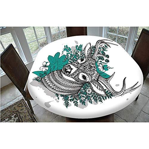 Mantel decorativo de poliéster con bordes elásticos, diseño de ciervos con adornos de flores y hierbas, para mesas ovaladas/Olbong de 48 x 68 pulgadas, para comedores y cocinas