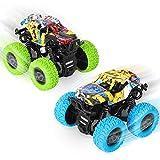 sanlinkee Camión Monstruo,2 PCS Monster Trucks Inercia Vehiculo Educativo de Carreras con Motor Fricción 360 Grados de Rotación,Regalo para Niños Niñas(Azul+Verde)…