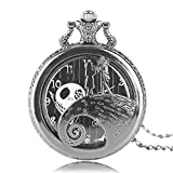 Aolvo Engraved Pocket Watch for Men & Women, The Nightmare Before Christmas Jack Skellington Theme Watch, Vintage Style Mini Pocket Watch with Chain Nacklace Decor, Ideal Gift Accessories