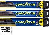 Windshield Wiper Blade Set/Kit/Bundle for 2000-2006 GMC Yukon - Driver, Passenger & Rear Blades & Reminder Sticker (Hybrid)