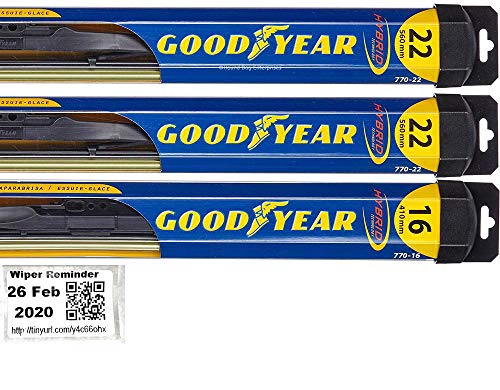 Windshield Wiper Blade Set/Kit/Bundle for 2000-2006 Chevrolet Tahoe - Driver, Passenger & Rear Blades & Reminder Sticker (Hybrid)