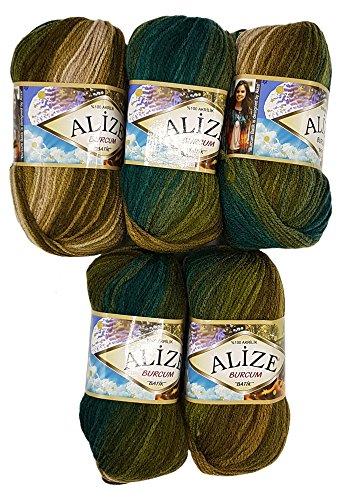 Alize Burcum Batik 5 x 100 Gramm Wolle Mehrfarbig mit Farbverlauf, 500 Gramm Strickwolle (Oliv Taupe beige u.a. 4684)