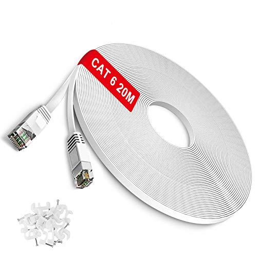 TBMax Netzwerkkabel 20m Cat6 Ethernet-Kabel 250 MHz 1000Mbit/s High Speed Lan Kabel flaches Internetkabel Kompatibel mit Switch/Router/Modem/Patch-Panel/Mac Weiß