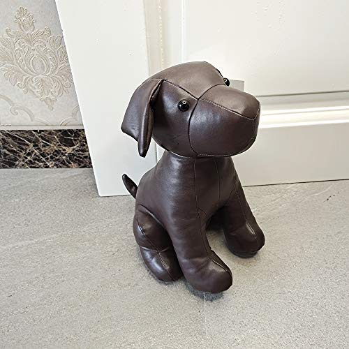 Leatherette Animal Door Stopper Doorstops Book Stopper Wall Protectors Anti Collision Decorative Dog Brown