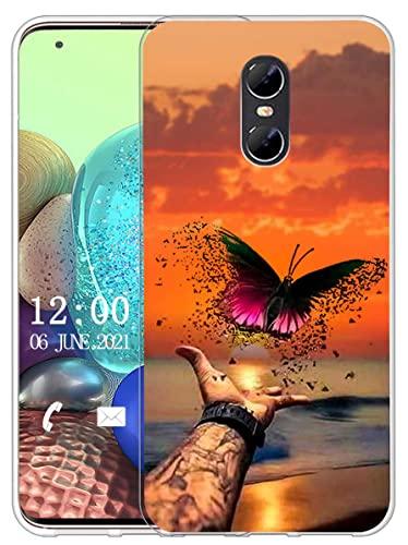 Sunrive Kompatibel mit Ulefone Gemini Hülle Silikon, Transparent Handyhülle Schutzhülle Etui Hülle (X Schmetterling)+Gratis Universal Eingabestift MEHRWEG