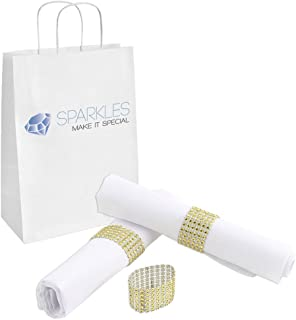 Sparkles Make It Special 25-pcs Rhinestone Diamond Napkin Rings - Gold - Wedding Party Dinner Banquet Reception Catering Special Event - Handmade Bling Decoration
